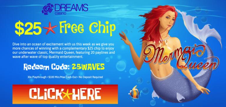 mermaid queen bonus code - dreams casino