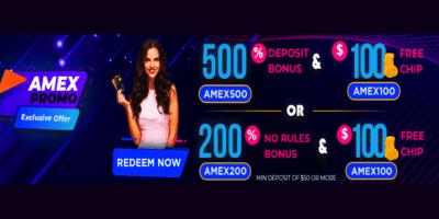 $100 free chip bonus code