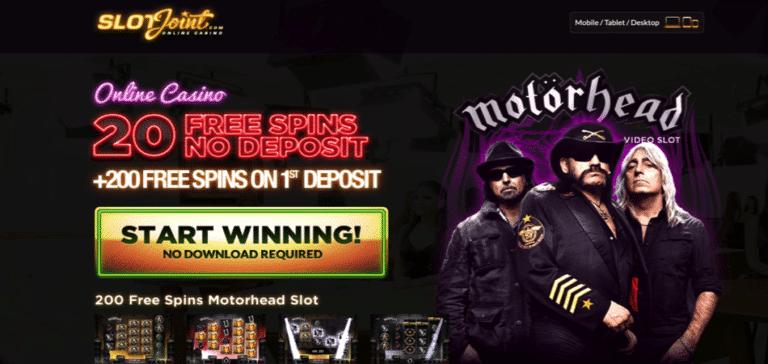 20 free spins on motorhead - slotjoint