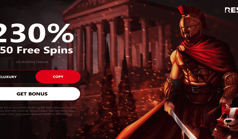 50 Free Spins on Deposit for Achilles Deluxe Slots