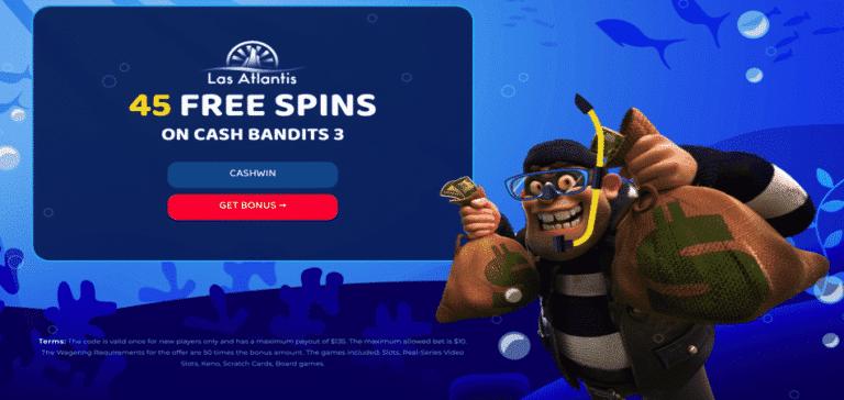cash bandits3 free spins bonus code