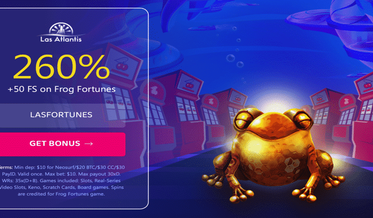50 Free Spins Bonus Code on Frog Fortunes