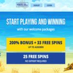 true blue 33 free spins - bonus code